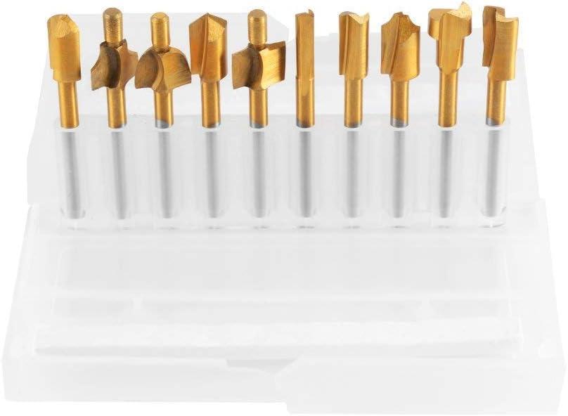 10 PCS de FSS Enrutamiento Fresas Titanio Chapado Paraca Dremel Herramienta rotativa Grabado Tratamiento de la madera Set para herramientas de carpintería