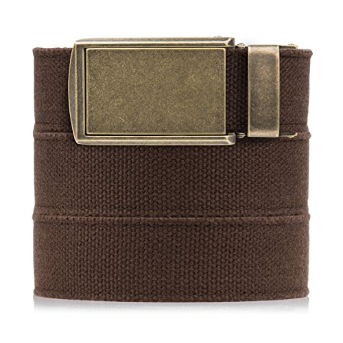 - SlideBelts Men's Canvas Belt - Brown with Brass Buckle