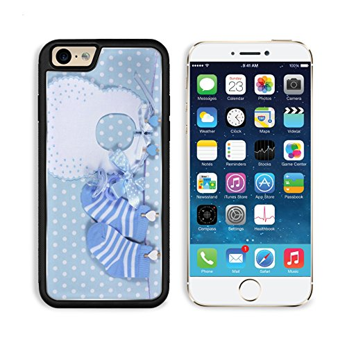 Blu Hanging (Apple iPhone 6 6S Aluminum Case Baby boy nursery blue socks and bib with dummy pacifier hanging from pegs on a line IMAGE 28242896 by MSD Customized Premium Deluxe Pu Leather generation Accessories HD)
