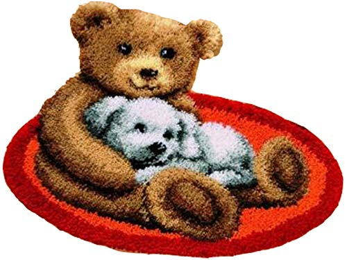 Sunny DIY Crochet Yarn Kits, 18.89X14.56, Needlework Kit DIY Crocheting Rug Yarn Cushion Embroidery Set, Bears friends 18.89X14.56
