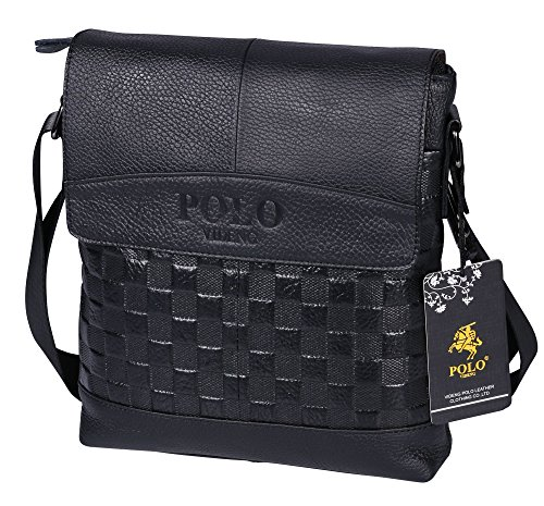 VIDENG POLO PS33 Top Grain Genuine Cow Leather Business Brifecase Messenger Crossbody Shoulder Bag for Men (VS1-black)