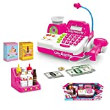 #10: Cashier Toy, PINCHUANGHUI Emulational Plastic Cash Register Cashier Pretend Play Children Early Educational Toy - Pink