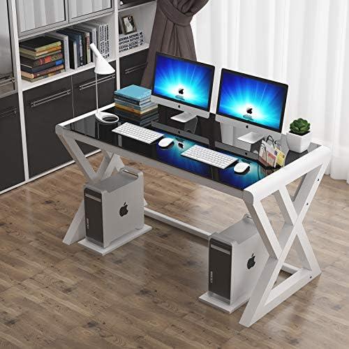 Cheap Tempered Glass Computer Desk modern office desk for sale