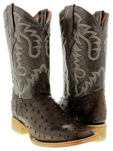 Texas Legacy - Men's Brown Ostrich Quill Design Leather Cowboy Boots Square Toe 11 2E -