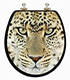 TOPSEAT 6TS3R1253CP 3D Leopard Wooden Round Toilet Seat