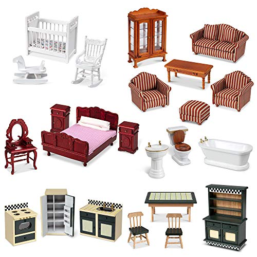 """Melissa & Doug Classic Victorian Wooden and Upholstered Dollhouse Furniture, 1:12 Scale, 23 Pieces, 20"""" H x 14"""" W x 12"""" L  (E-Commerce Packaging)"""