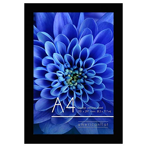 Americanflat A4 Black Picture Frame   Displays Photos Sized 21x29.7 cm (8.3x11.7 inches) Shatter-Resistant Glass. Hanging Hardware Included!