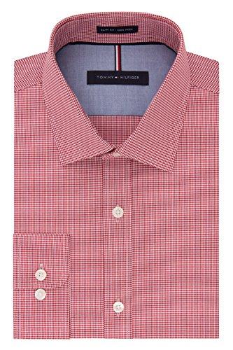 Tommy-Hilfiger-Mens-Non-Iron-Slim-Fit-Mini-Check-Spread-Collar-Dress-Shirt
