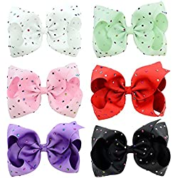 "inSowni 8"" Hair Clips Barrettes X-Large Bow with Glittery Rhinestone for Baby Girl Toddlers Kids Women (6PCS S3 (Size/8""))"