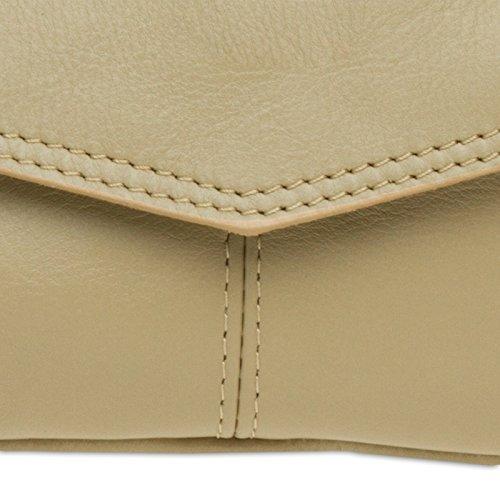 CASPAR TA322 Bolso de mano fiesta para mujer / Clutch elegante hecho de cuero nappa Beis
