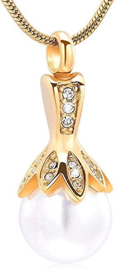 Groeoy joyería de urna Forma de urna Cenizas Recuerdo Collar de joyería Conmemorativa de Recuerdo de Ceniza Fija con Colgante de cremación de Acero Inoxidable con Flor de Perla Real Dorado