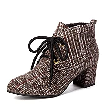 af0c5b6ae268 Amazon.com  DingXiong 2018 Lace-Up Women Boots Fashion Plaid Pointed ...