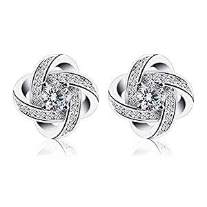 B.Catcher Earings for Woman Silver Earrings Studs Cubic Zirconia Gemini Sets FeM2Uo