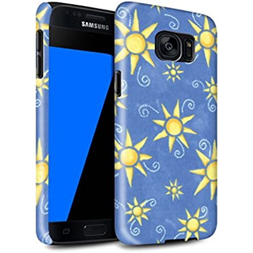 STUFF4 Gloss Tough Shock Proof Phone Case for Samsung Galaxy S7/G930 / Blue/Yellow Design / Sun/Sunshine Pattern Sales