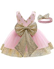 LZH Baby Girls Lace Dress Bowknot Flower Dresses Wedding Pageant Baptism Christening Tutu Gown 0-24 Months
