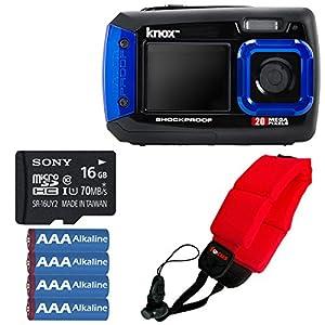 Knox 20MP Waterproof & Shockproof Digital Camera (Blue) with 16GB microSD Card Bundle