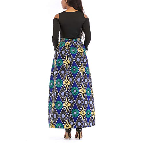 Pieces Line Maxi Long A Floral Dress Skirt Women's African Raylans Two Print Print Green ST4Xaq1