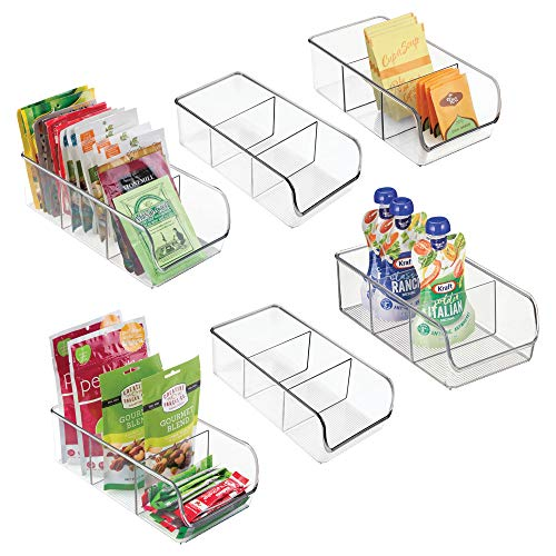 mDesign Plastic Food Packet Kitchen Storage Organizer Bin Caddy – Holds Spice Pouches, Dressing Mixes, Hot Chocolate, Tea, Sugar Packets in Pantry, Cabinets or Countertop – BPA Free – 6 Pack, Clear