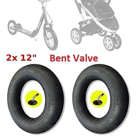 2 cámaras de aire de 12 pulgadas para cochecito, patinete o bicicleta de niño, Válvula acodada en ángulo de 45°