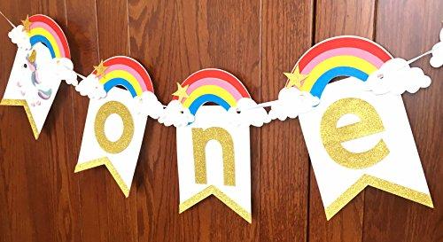 Alemon Handmade Rainbow Unicorn 1st Birthday Party Decor Supplies Garland - Highchair Banner High Chair Burlap for ONE First Birthday