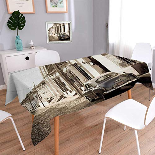 Vintage Car Rectangle Dinner Picnic Table Cloth An Old American Car in the Colonial Streets of Trinidad in Cuba Historical Picture Waterproof Table Cover for Kitchen Beige Size: W60