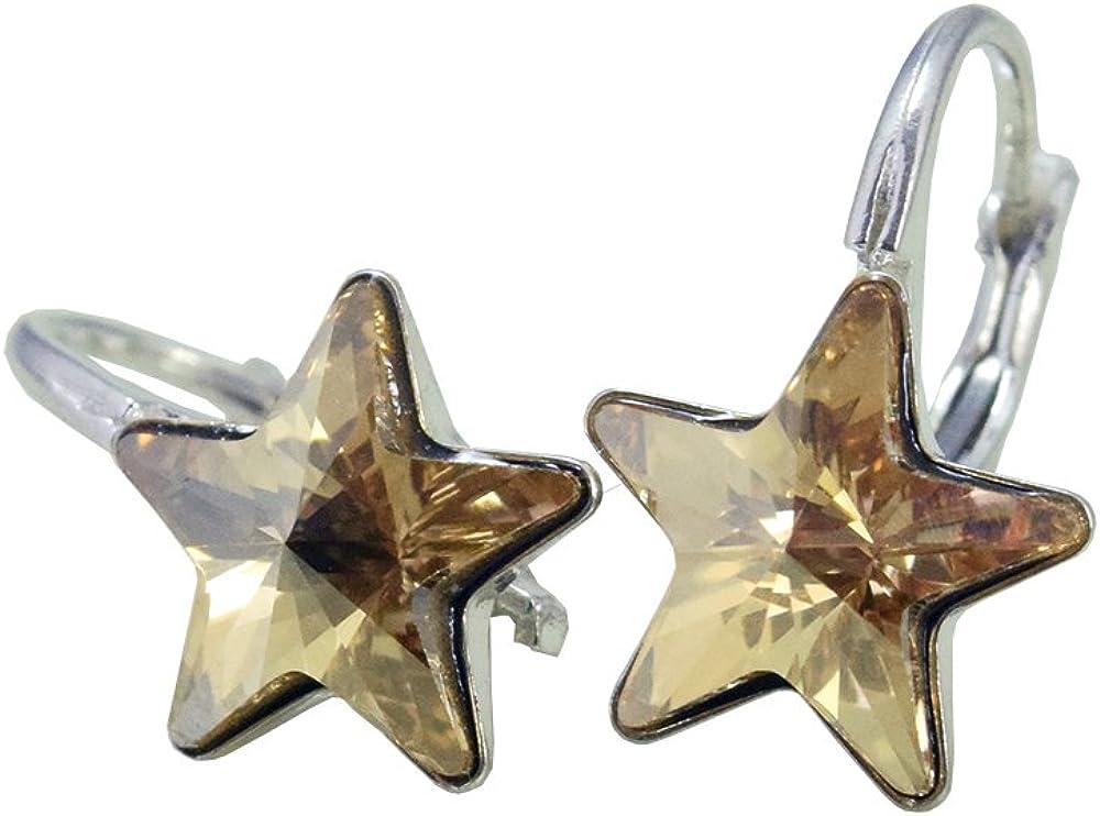 'Crystals & Stones * Golden Shadow Estrella * *–Schön Pendientes–Pendientes con Cristales de Swarovski Elements–Fantástica Pendientes con caja de regalo