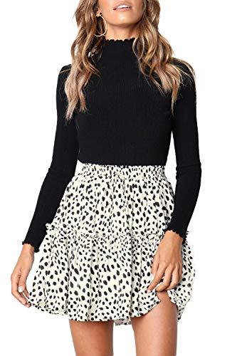 Alelly Women's Summer Cute High Waist Ruffle Skirt Floral Print Swing Beach Mini -
