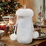 S-DEAL Wine Bag Drawstring 13x6 Inches Faux Fur Bottle Cover White Plush X-mas Gift Decor Christmas Party Wedding Holiday Dinner Table Hotel