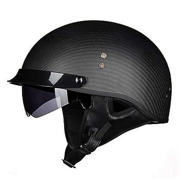Casco De Moto De Fibra De Carbono Ultraligero Casco Harley Cómodo Seguridad Medio Casco Adecuado para Adultos,Black(L): Amazon.es: Jardín