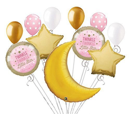 11 pc Twinkle Little Star Baby Girl Balloon Bouquet Party Decoration Shower ()