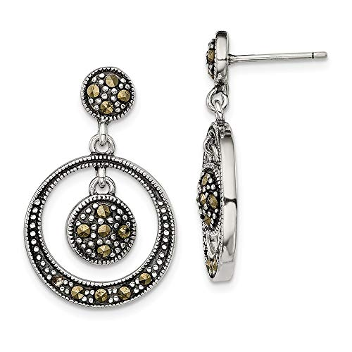 925 Sterling Silver Marcasite Circle Drop Dangle Chandelier Post Stud Earrings Fine Jewelry Gifts For Women For Her