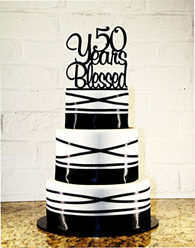 Amazoncom 50th Birthday Cake Topper 50 Years Blessed Custom