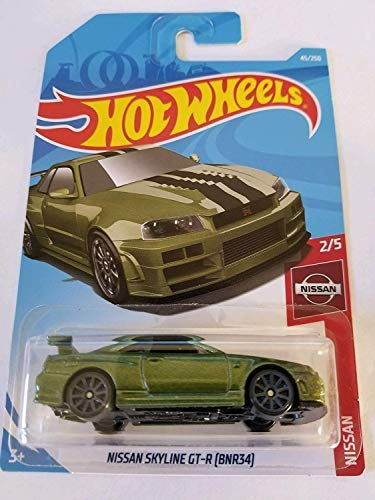 Hot Wheels 2019 Nissan Series Nissan Skyline GT-R (BNR34) 45/250, Metallic Green (Nissan Skyline R34 Gtr Fast And Furious)