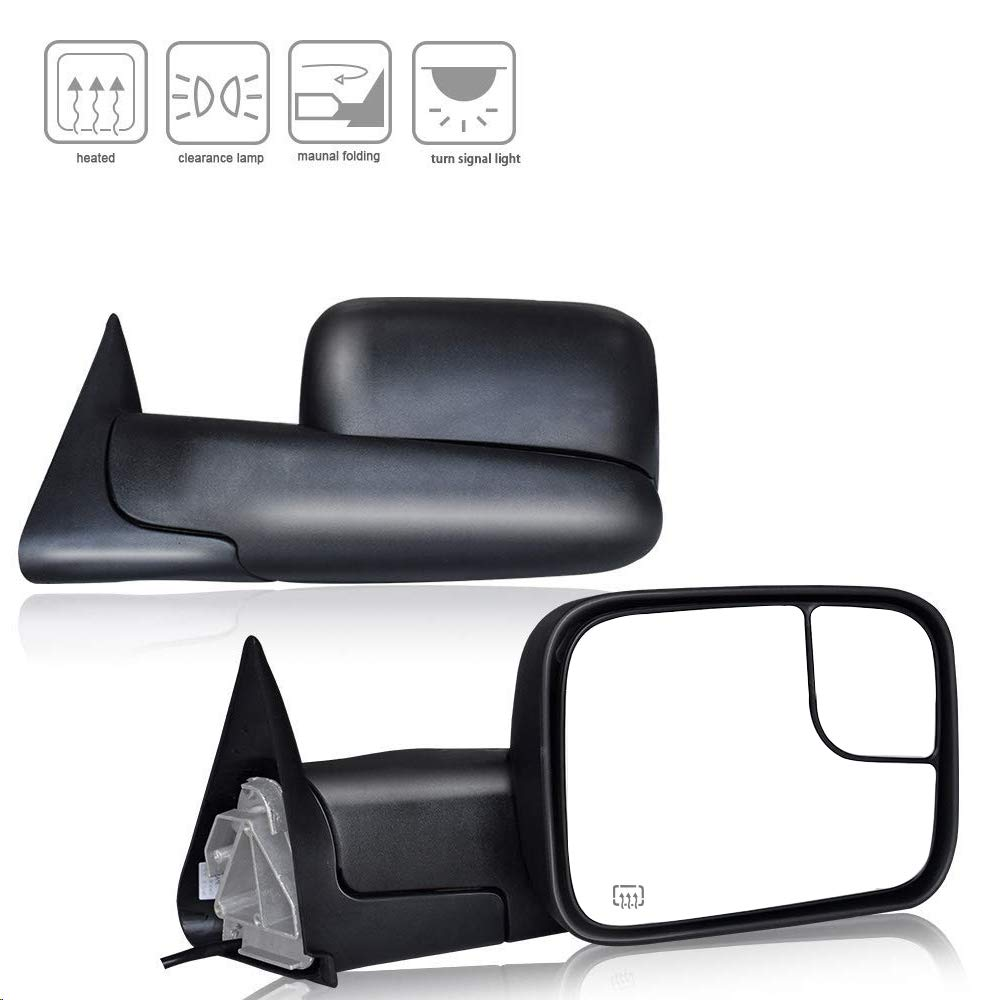 DOT Approved Towing Mirrors W/Brackets Replacement fit for 1998 1999 2000 2001 Dodge Ram 1500 2500 3500 Truck Power Heated Black Manual Side View Towing Mirror Rear Mirror Pair Spead-Vmall