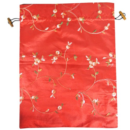 (Wrapables Beautiful Embroidered Silk Travel Bag for Lingerie & Shoes - Red)