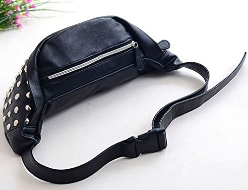 1 Leather Waist Bumbag Stripes Bag Rivets Pack PU Bag Women Mini Meliya Belt Fanny Travel Pouch Fashion Phone Cell Black Retro qwxRzg4