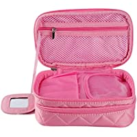 Wowiss Solid Layered Zipper Closure Handheld Cosmetic Travel Wash Bag