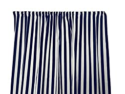 Zen Creative Designs Premium Cotton 1 Inch Stripes Curtain Panel / Home Decor / Window Treatments / Kitchen / Living Room / Bed Room / Stripes / Lines / Linear / Parallel (36 Inch x 58 Inch, Navy)