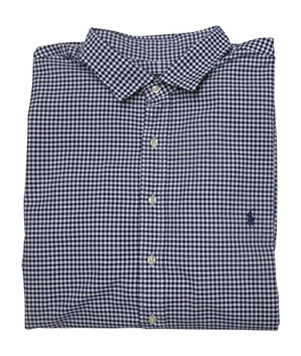 Polo Ralph Lauren Mens' Big and Tall Long Sleeve Oxford Shirt Estate Spread Collar (4XLT, Navy/White)