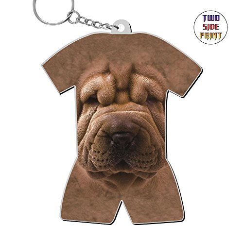 Big Face Shar Pei Puppy Zinc Alloy Metal 3D Printing Home Key Chain Best Gift for Friends Men -
