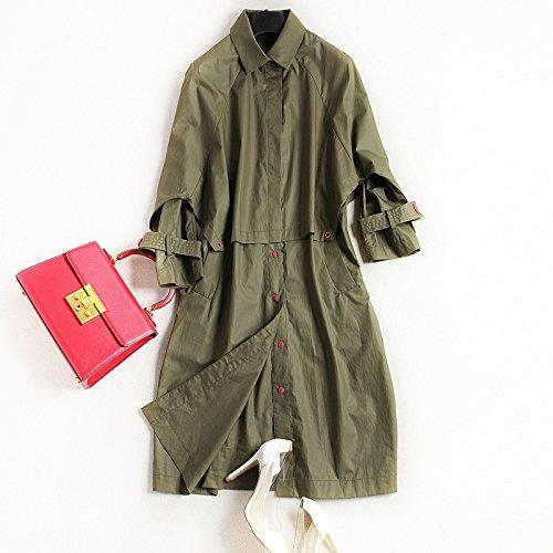 Mayihang digna femenino niñas Dama abrigo abrigo largo otoño militar Las Verde H1qwC51