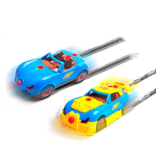 Kids Take Apart Racing Toy Car, 30 Pieces Build A Car Kit, Comes with an Electric Drill Tool and Real Sounds and Lights, Free Storage Bags, Batteries and Extra Parts, Best for Children 3 and up.