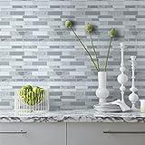 "HUE DECORATION Modern Grey Peel and Stick Subway tiles, Vinyl Backsplash for Bathroom and Kitchen 10"" x 9.8"" Pack of 5"