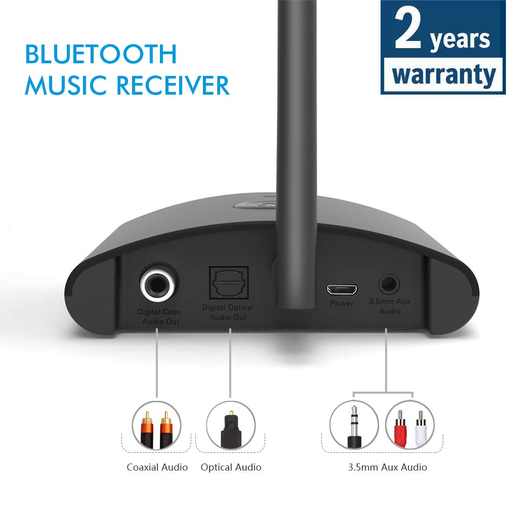 Besign New BE-RX Long Range Home HD Bluetooth Music Receiver, Wireless Audio Adapter for Music Streaming, Aptx, Support Optical, Coaxial & 3.5mm Audio Connections for Home Stereo System