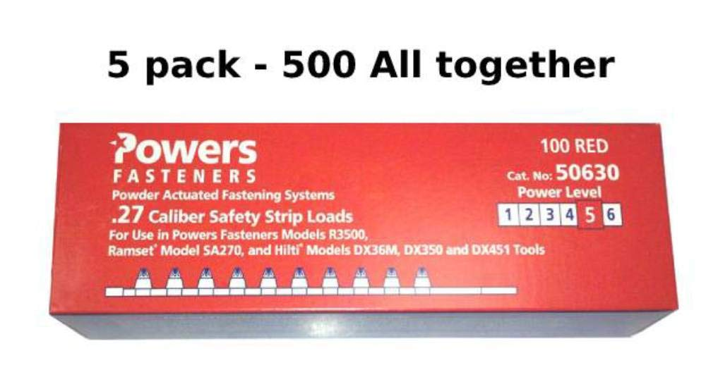 Powers #50630 Fasteners Powder Actuated Fastening Systems .27 Caliber 5x100 5 pack Total 500