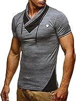Leif Nelson Herren Sommer T-Shirt Stehkragen Slim Fit Casual Baumwolle-Anteil Cooles weißes schwarzes Männer...