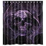 "Custom Print Design Black and Purple Skull Shower Curtain Decoration Mildew Waterproof Polyester Fabric Bathroom Shower Curtain 66"" x 72"" Inch"