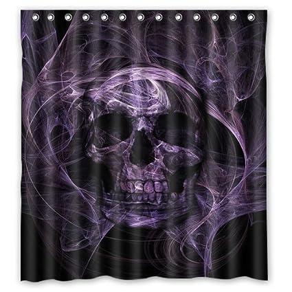 Custom Print Design Black And Purple Skull Shower Curtain Decoration Mildew Waterproof Polyester Fabric Bathroom