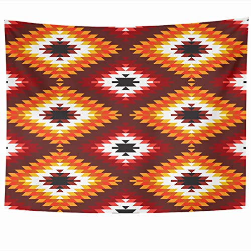 Ahawoso Tapestry Wall Hanging 60x50 Inches Turkish Antique Pattern Carpet White Geometric Red African Boho Border Detail East Ethnic Kilim Home Decor Tapestries Art for Living Room Bedroom Dorm