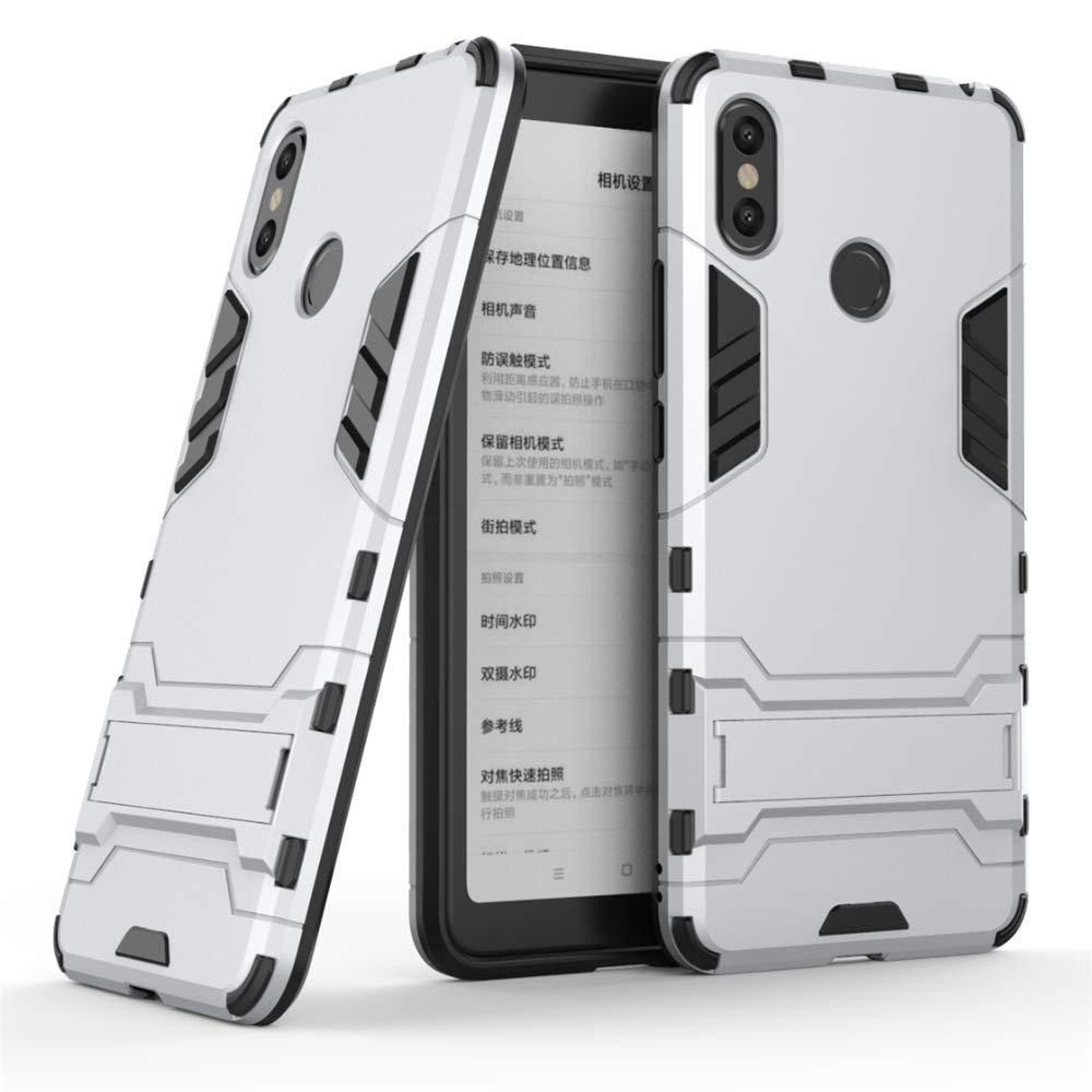 MHHQ Xiaomi Mi Max 3 Custodia, 2 in 1 Armour stile resistente Hybrid Dual Layer Armatura Defender PC + TPU Custodie Case Cover con supporto [Custodia antiurto] per Xiaomi Mi Max 3 -Red
